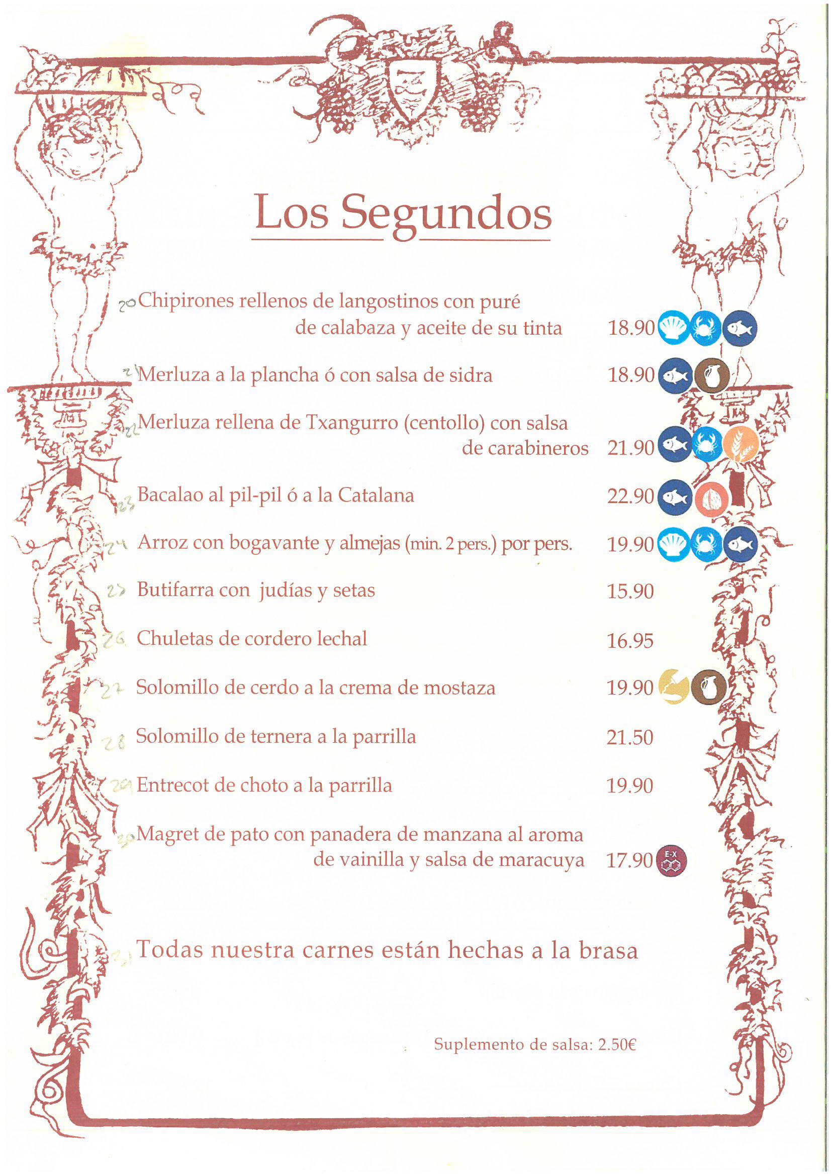 Carta de alérgenos los Segundos en restaurante El Zaguán